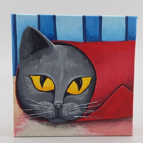 cat hiding in red tube painting