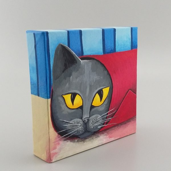 grey cat painting