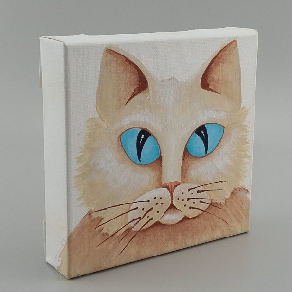 long furred cat with blue eyes painting