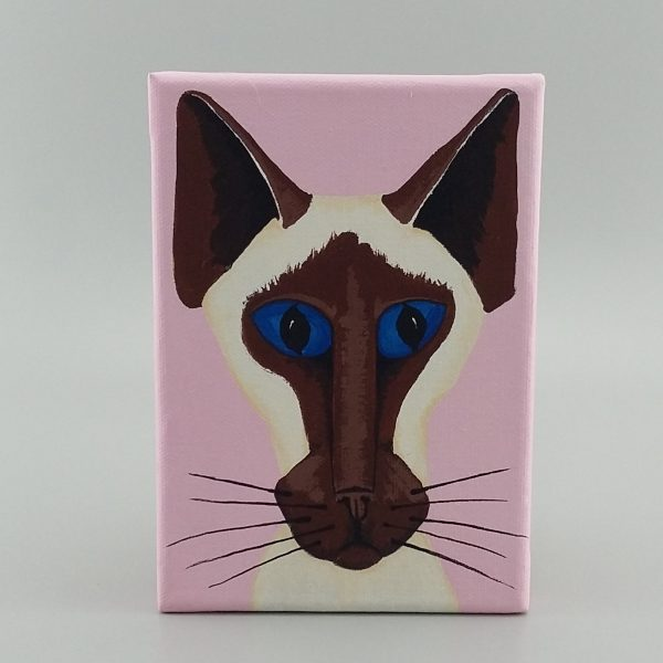 painting of siamese face pink background