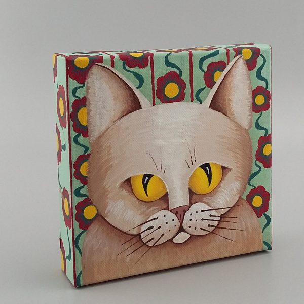 cat painting with flowered wallpaper