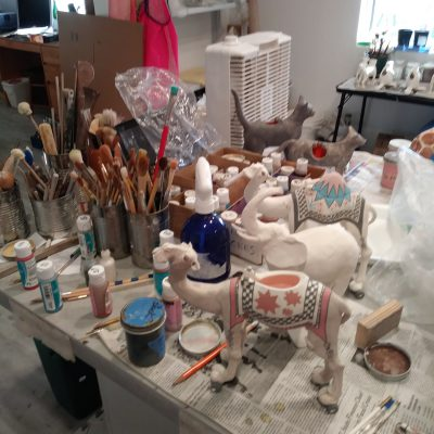 studio table for decorating and glazing Andree's creations