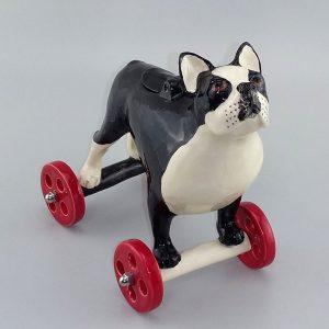 whimsical sculpture of Boston Terrier
