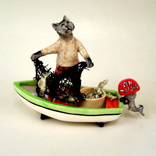 commission sculpture cat catching fish