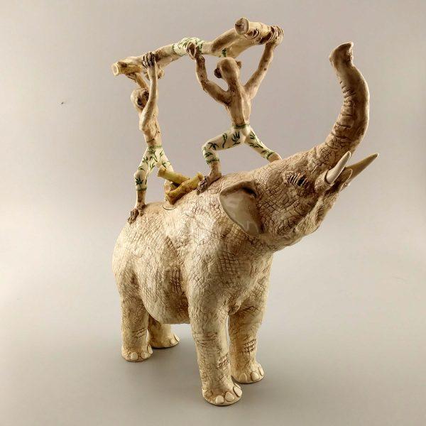 exotic sculpture elephant monkey teapot