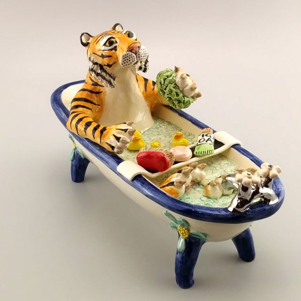 exotic clay sculpture tiger in bathtub