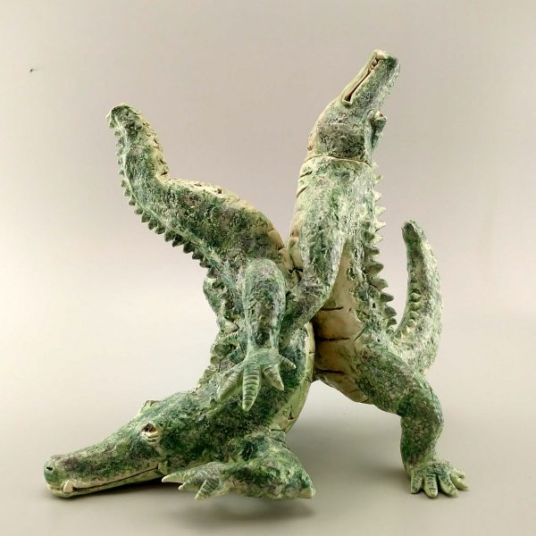 exotic clay sculpture alligator teapot