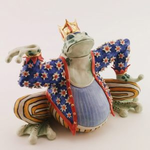Frog Prince Teapot.  7x10x5in