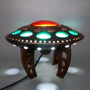 clay sculpture flying saucer lamp