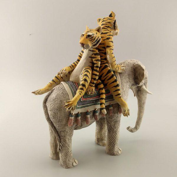 narrative porcelain sculpture elephant tigers