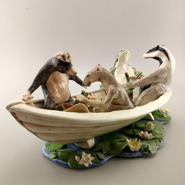 narrative clay sculpture riverbank animals
