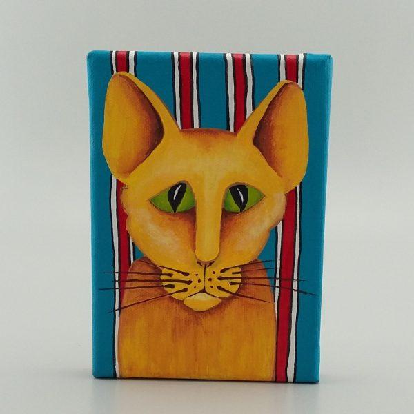 painting of orange cat