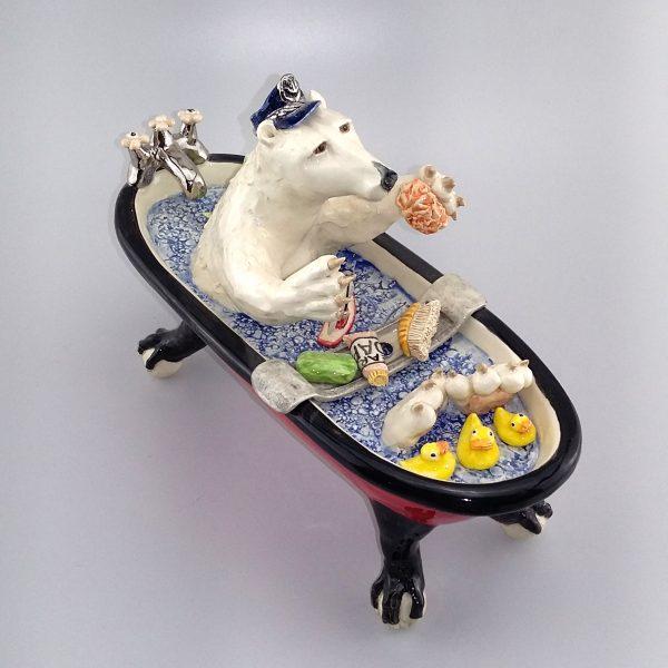 polar bear in bath tub