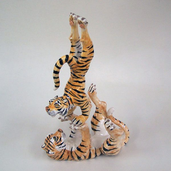 sold clay sculpture two tigers