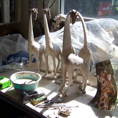 andree clay production process making clay sculpture giraffes