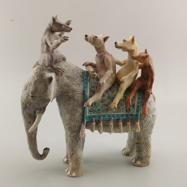 narrative porcelain sculpture elephant and 4 dogs