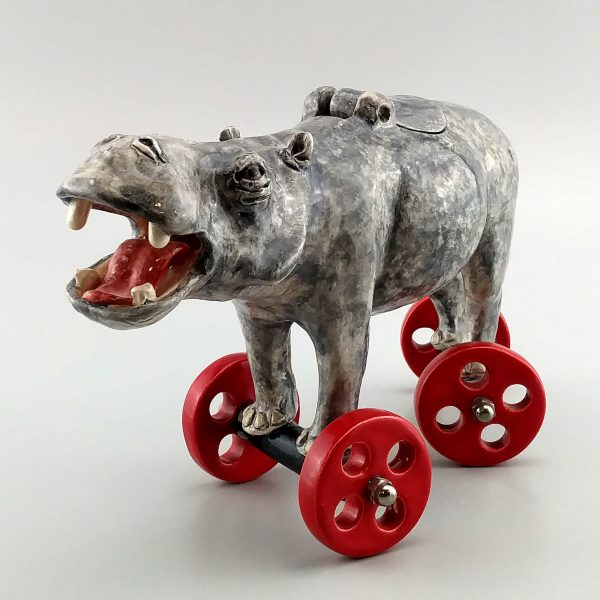 whimsical clay sculpture hippopotamus