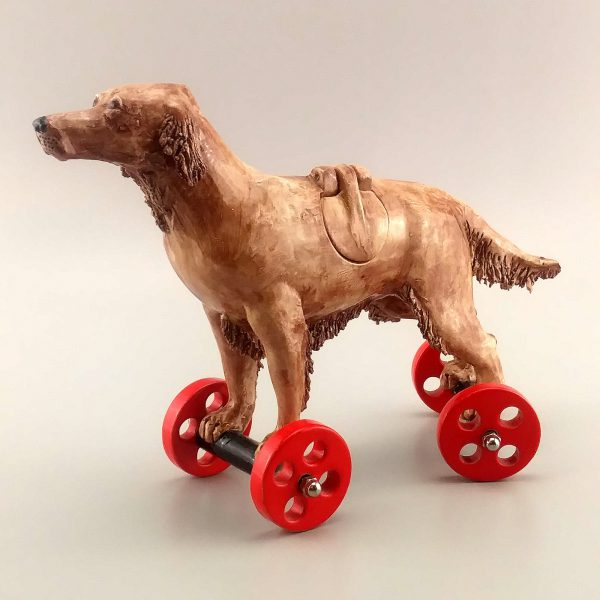 whimsical clay sculpture brown retriever