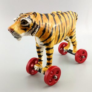 whimsical-clay sculpture wild tiger