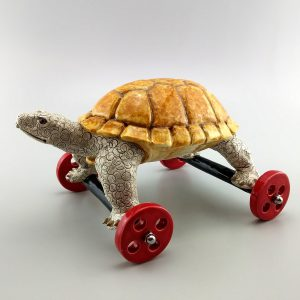 whimsical clay sculpture tortoise