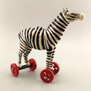 whimsical clay sculpture zebra